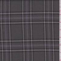 Gunmetal Grey Plaid Wool Flannel Suiting