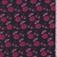 *3 YD PC--Chestnut Brown/Coral Red Floral Silk Crepe de Chine