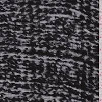 *7/8 YD PC--Black/White Streak Heavy Sweater Knit