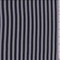 *2 1/4 YD PC--Black/Grey Stripe Rayon Challis