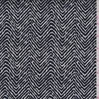 Black/White Herringbone Stretch Sateen