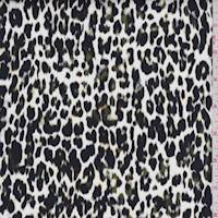 White/Black/Olive Cheetah Stretch Sateen