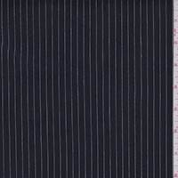 Dark Navy Pinstripe Chintzed Stretch Denim