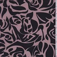 Cocoa/Black Stencil Floral Challis