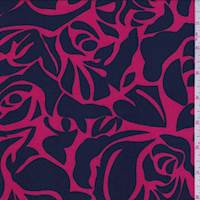 Coral Red/Navy Stencil Floral Challis