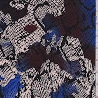 Natural/Cobalt Snakeskin Print Challis