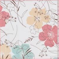 *1 3/4 YD PC--Off White Multi Modern Floral Poplin