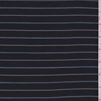 *2 YD PC--Black/Blue/Mint Stripe Gabardine Twill