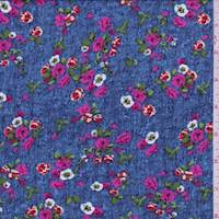 Denim Blue Mini Floral Challis
