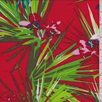 Red Tropical Floral Challis