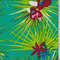 Aquamarine Tropical Floral Challis