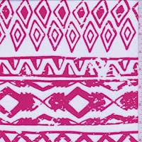 White/Pale Red Aztec Stripe Challis