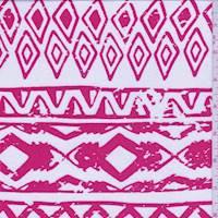 White/Pale Red Aztec Stripe Challis