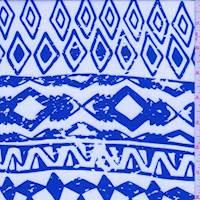 White/Royal Aztec Stripe Challis