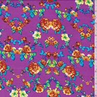 Fuchsia Purple Multi Floral Challis