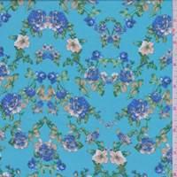 Aqua Blue Multi Floral Challis