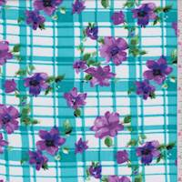 White/Turquoise/Purple Plaid Floral Challis