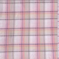 White/Pink/Tan Plaid Shirting