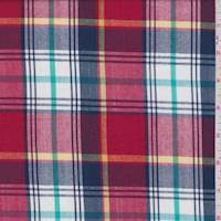 *4 YD PC--Red Multi Plaid Cotton Shirting
