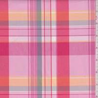*2 5/8 YD PC--Pink/Coral Plaid Shirting