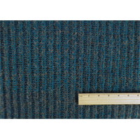 *1 3/4 YD PC--Turquoise/Grey Wool Blend Sweater Rib Knit