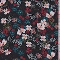 Black Multi Garden Floral Scuba Knit