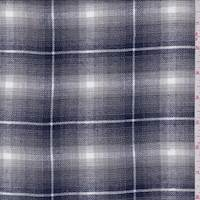 Sterling/Navy Shadow Plaid Shirting