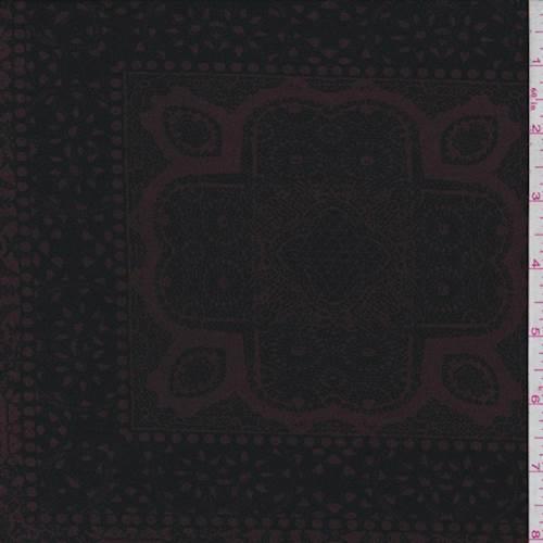 Mulberry/Black Medallion Block Jersey Knit