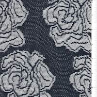 *1 1/4 YD PC--Deep Navy/White Floral Sweater Knit