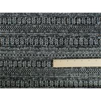*2 1/8 YD PC--Black/White Wool Striped Faire Isle Knit