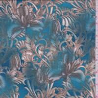 Teal Blue/Olive Tulip Floral Jersey Knit