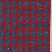*3/4 YD PC--Denim Blue/Red Houndstooth Wool Coating