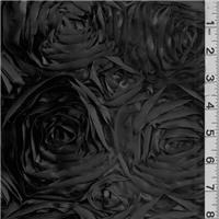 *2 1/2 YD PC--Black Rosette Satin