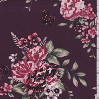 *2 1/2 YD PC--Mulberry Floral Bouquet Jersey Knit