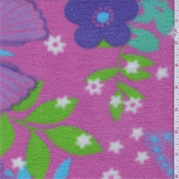 *1 1/8 YD PC--Berry Pink Floral/Butterfly Polyester Fleece