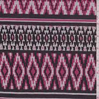 Black/Rose/Grey Aztec Double Knit