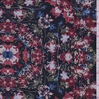 Black/Ruby Floral Medallion Jersey Knit