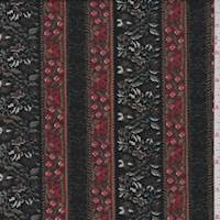 Black/Brown Wallpaper Stripe Double Knit