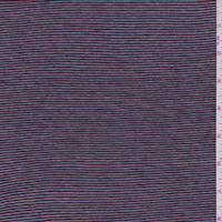 *3 1/2 YD PC--Candy Red/Blue Stripe Rayon Blend Sweater Knit