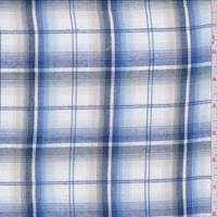 White/Blue Plaid Lawn