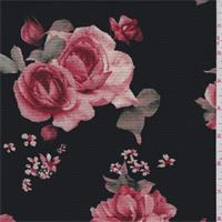 *3 3/8 YD PC--Black/Brick Red Floral Hammered Crepe