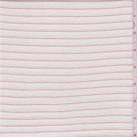 *2 5/8 YD PC--Cream/Rose Pinstripe Rayon  Jersey Knit