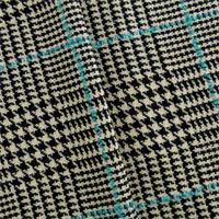*1/2 YD PC--Black/Ivory/Blue Wool Blend Houndstooth Plaid Jacketing