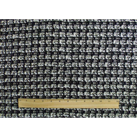 *1 1/2 YD PC--Black/White Wool Blend Novelty Jacketing