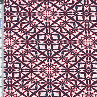*3 1/8 YD PC--Black /Navy /Red Knit Abstract Kaleidoscope Print