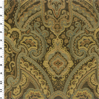 *1 YD PC--Brown/Teal Paisley Jacquard Home Decorating Fabric
