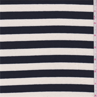 *2 3/8 YD PC--Black/Cream Stripe Interlock Knit