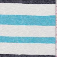 White/Turquoise/Black Stripe Slubbed Sweater Knit
