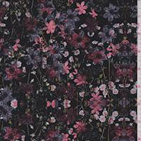 Black/LIlac Lily Floral Jersey Knit