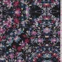 Black/Orchid Multi Floral Block Double Knit